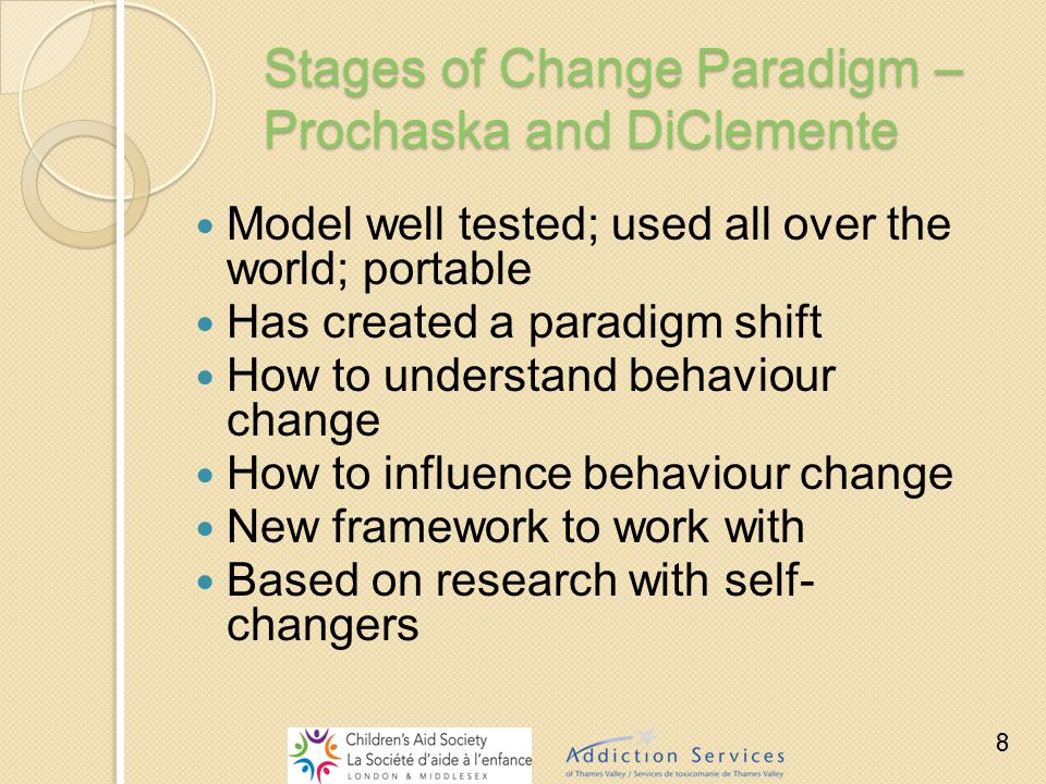 Stages of Change Paradigm – Prochaska and DiClemente Model well tested; used all over the world; portable Has created a paradigm shift How to understa