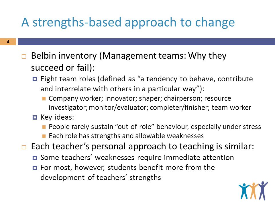 A strengths-based approach to change 4  Belbin inventory (Management teams: Why they succeed or fail):  Eight team roles (defined as a tendency to behave, contribute and interrelate with others in a particular way ): Company worker; innovator; shaper; chairperson; resource investigator; monitor/evaluator; completer/finisher; team worker  Key ideas: People rarely sustain out-of-role behaviour, especially under stress Each role has strengths and allowable weaknesses  Each teacher's personal approach to teaching is similar:  Some teachers' weaknesses require immediate attention  For most, however, students benefit more from the development of teachers' strengths