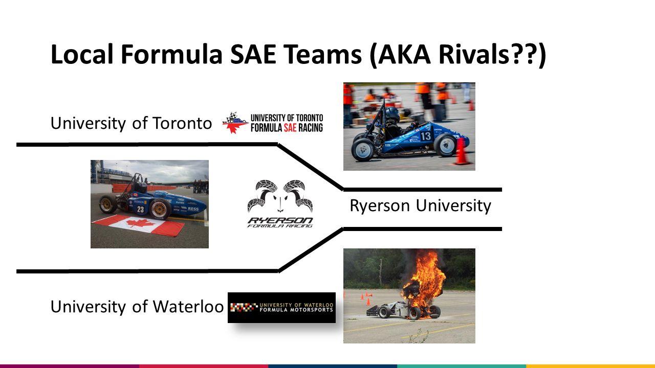 Local Formula SAE Teams (AKA Rivals??) University of Toronto Ryerson University University of Waterloo