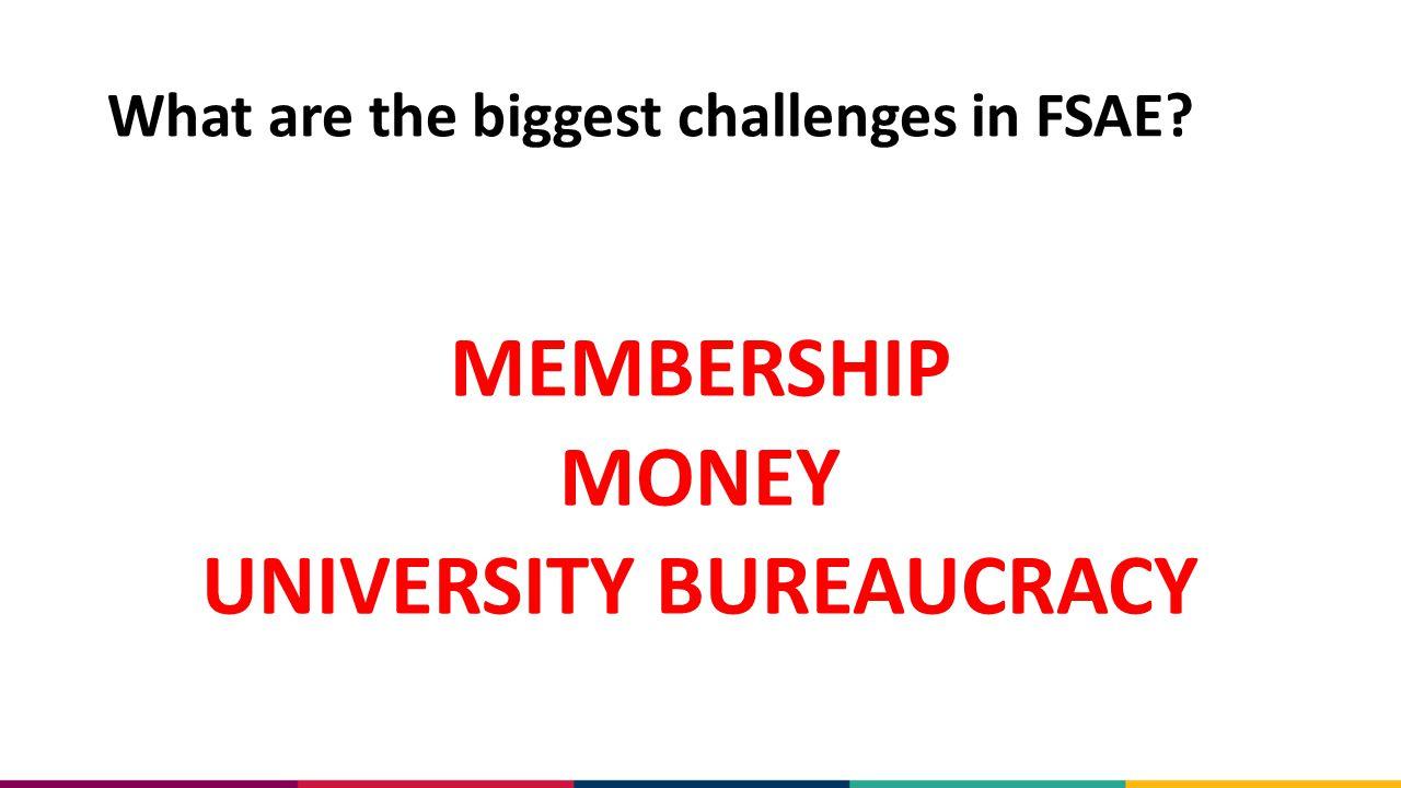 What are the biggest challenges in FSAE? MEMBERSHIP MONEY UNIVERSITY BUREAUCRACY
