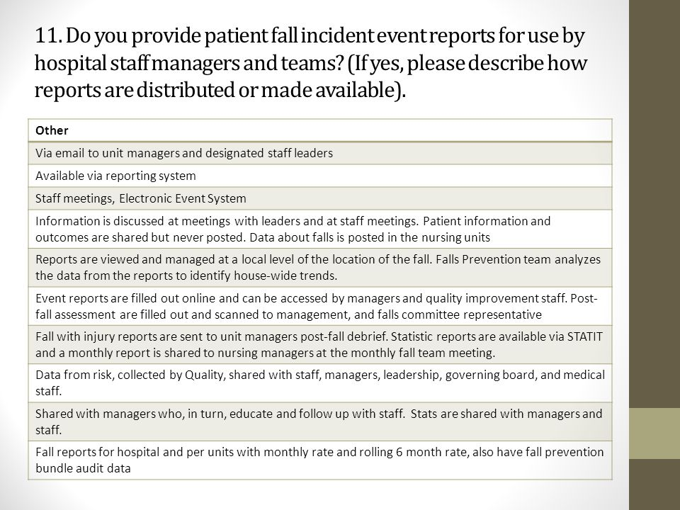11. Do you provide patient fall incident event reports for use by hospital staff managers and teams? (If yes, please describe how reports are distribu