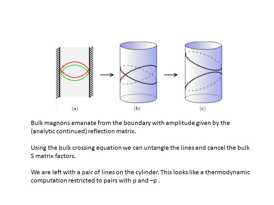 Bulk magnons emanate from the boundary with amplitude given by the (analytic continued) reflection matrix.