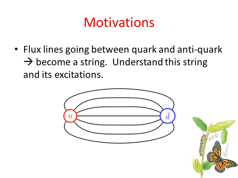 Motivations Flux lines going between quark and anti-quark  become a string. Understand this string and its excitations.