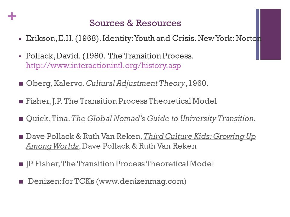 + Sources & Resources  Erikson, E.H. (1968). Identity: Youth and Crisis.