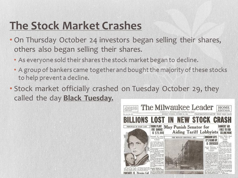 The Effects of the Crash Investors who had bought on margin were in debt to their stock brokers.