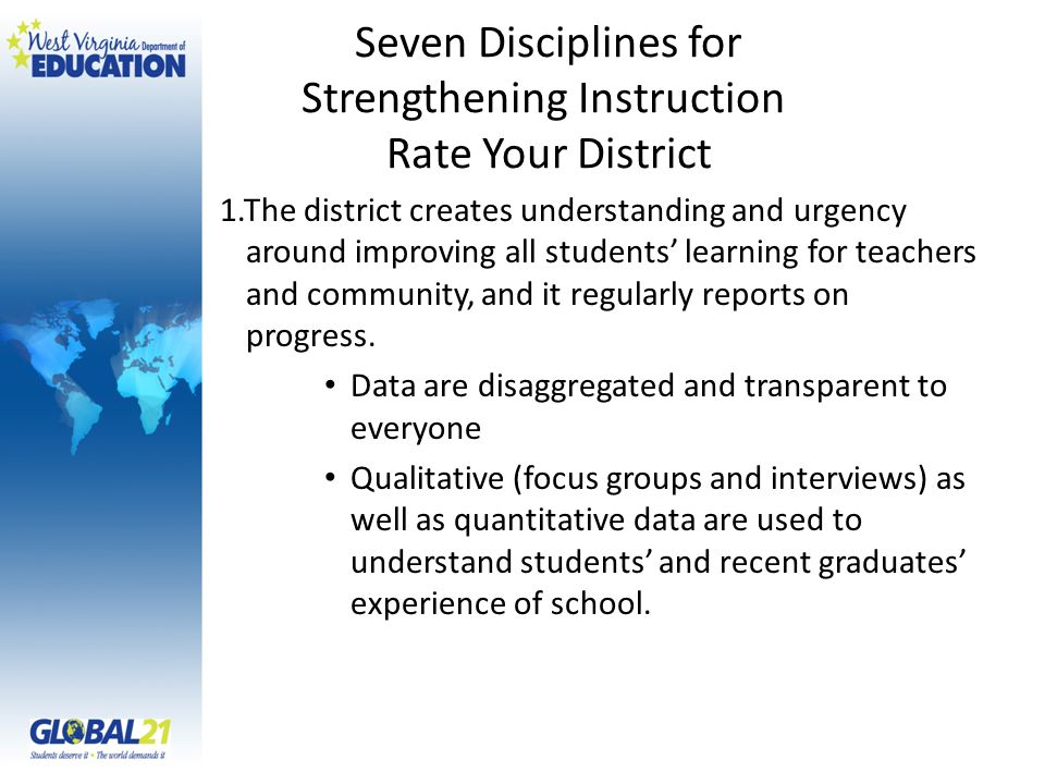 Seven Disciplines for Strengthening Instruction Rate Your District 1.The district creates understanding and urgency around improving all students' lea