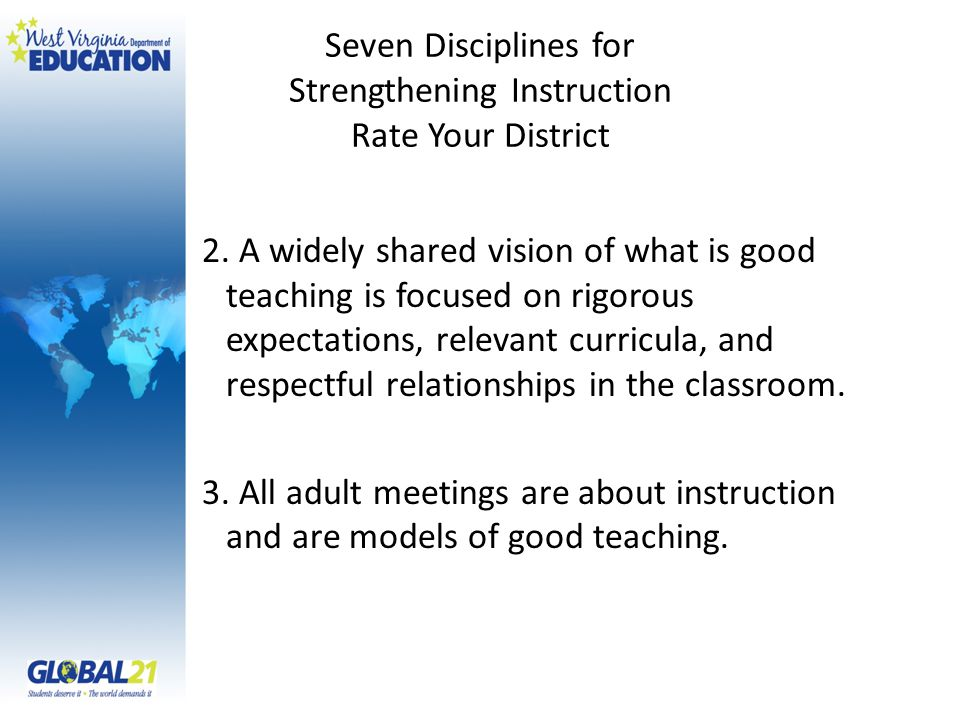 Seven Disciplines for Strengthening Instruction Rate Your District 2. A widely shared vision of what is good teaching is focused on rigorous expectati