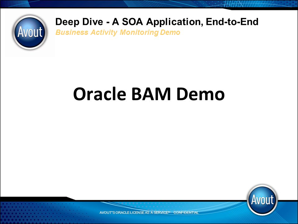 AVOUT S ORACLE LICENSE AS A SERVICE SM CONFIDENTIAL Deep Dive - A SOA Application, End-to-End Business Activity Monitoring Demo Oracle BAM Demo