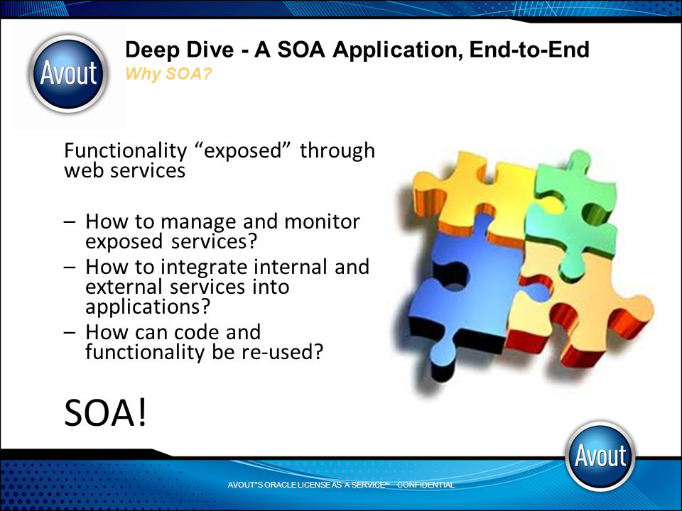 AVOUT S ORACLE LICENSE AS A SERVICE SM CONFIDENTIAL Deep Dive - A SOA Application, End-to-End Why SOA.