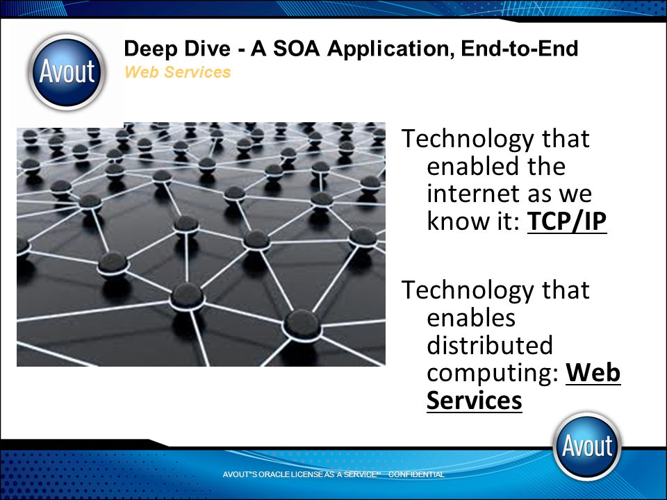 AVOUT S ORACLE LICENSE AS A SERVICE SM CONFIDENTIAL Deep Dive - A SOA Application, End-to-End Web Services Technology that enabled the internet as we know it: TCP/IP Technology that enables distributed computing: Web Services