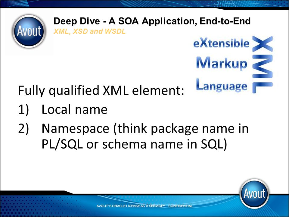 AVOUT S ORACLE LICENSE AS A SERVICE SM CONFIDENTIAL Deep Dive - A SOA Application, End-to-End XML, XSD and WSDL Fully qualified XML element: 1)Local name 2)Namespace (think package name in PL/SQL or schema name in SQL)
