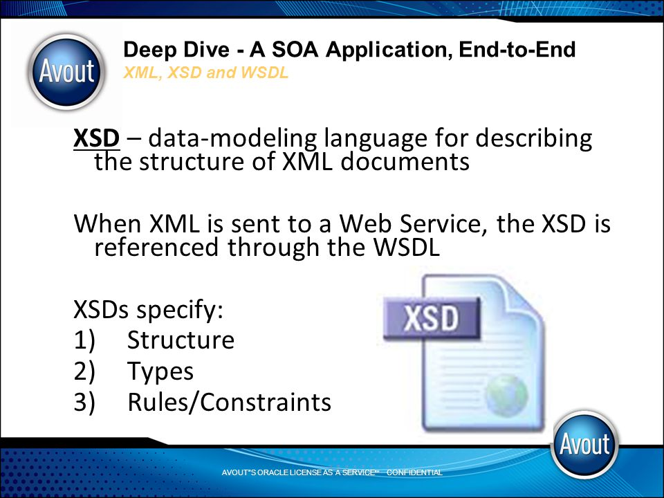 AVOUT S ORACLE LICENSE AS A SERVICE SM CONFIDENTIAL Deep Dive - A SOA Application, End-to-End XML, XSD and WSDL XSD – data-modeling language for describing the structure of XML documents When XML is sent to a Web Service, the XSD is referenced through the WSDL XSDs specify: 1)Structure 2)Types 3)Rules/Constraints