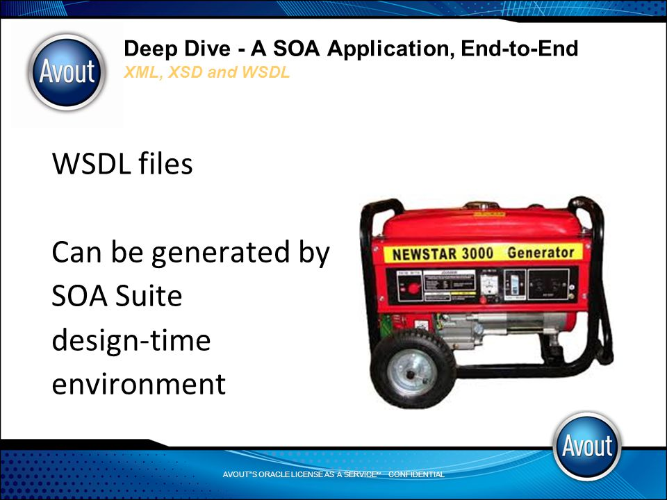 AVOUT S ORACLE LICENSE AS A SERVICE SM CONFIDENTIAL Deep Dive - A SOA Application, End-to-End XML, XSD and WSDL WSDL files Can be generated by SOA Suite design-time environment