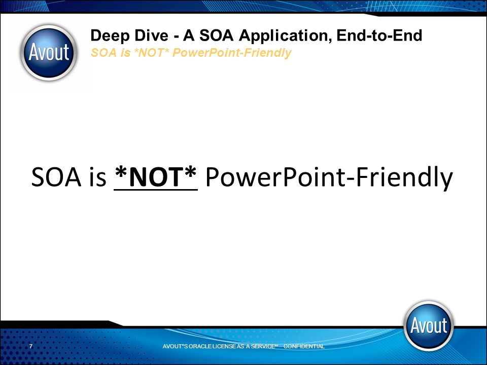 AVOUT S ORACLE LICENSE AS A SERVICE SM CONFIDENTIAL Deep Dive - A SOA Application, End-to-End Adapters