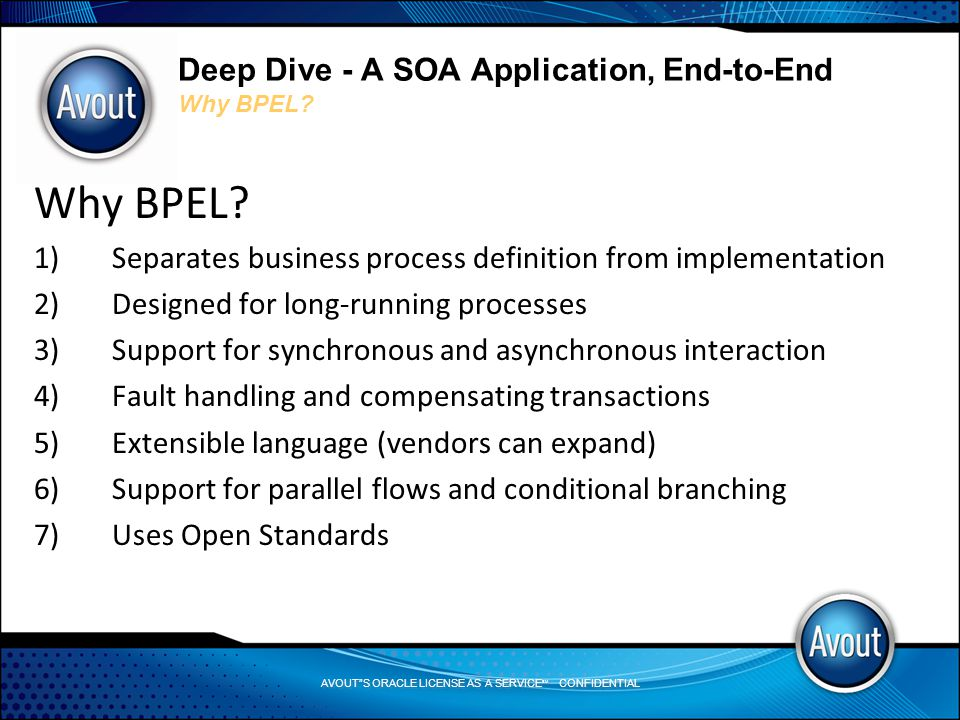 AVOUT S ORACLE LICENSE AS A SERVICE SM CONFIDENTIAL Deep Dive - A SOA Application, End-to-End Why BPEL.
