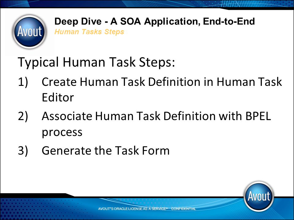 AVOUT S ORACLE LICENSE AS A SERVICE SM CONFIDENTIAL Deep Dive - A SOA Application, End-to-End Human Tasks Steps Typical Human Task Steps: 1)Create Human Task Definition in Human Task Editor 2)Associate Human Task Definition with BPEL process 3)Generate the Task Form