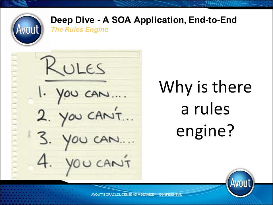 AVOUT S ORACLE LICENSE AS A SERVICE SM CONFIDENTIAL Deep Dive - A SOA Application, End-to-End The Rules Engine Why is there a rules engine