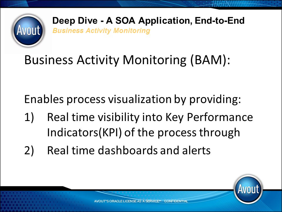 AVOUT S ORACLE LICENSE AS A SERVICE SM CONFIDENTIAL Deep Dive - A SOA Application, End-to-End Business Activity Monitoring Business Activity Monitoring (BAM): Enables process visualization by providing: 1)Real time visibility into Key Performance Indicators(KPI) of the process through 2)Real time dashboards and alerts