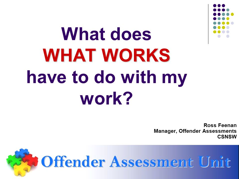 WHAT WORKS What does WHAT WORKS have to do with my work? Ross Feenan Manager, Offender Assessments CSNSW