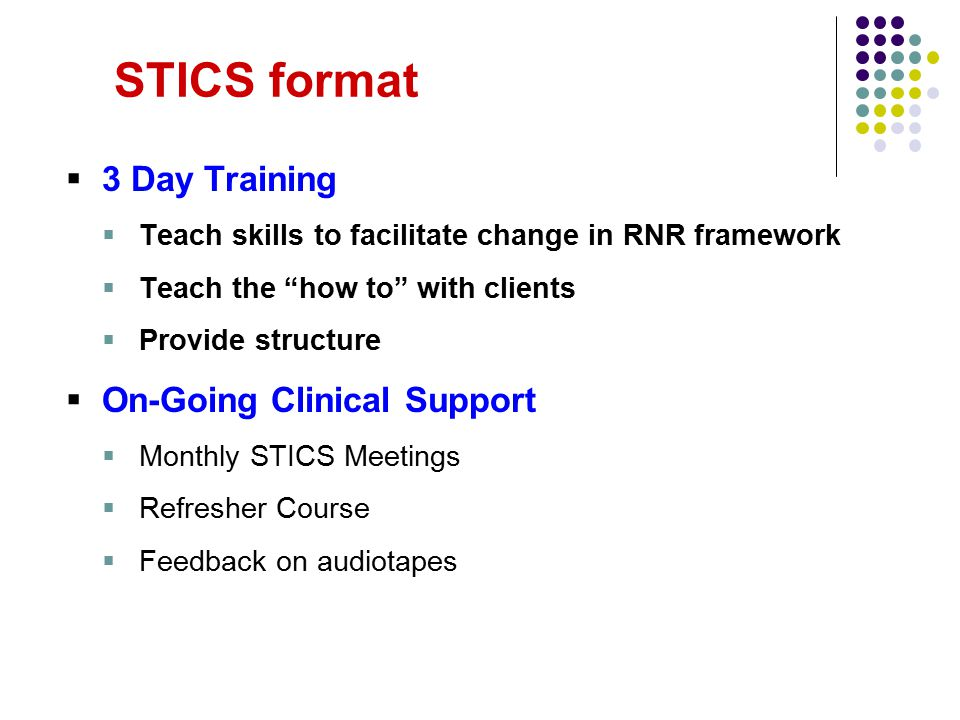 "STICS format  3 Day Training  Teach skills to facilitate change in RNR framework  Teach the ""how to"" with clients  Provide structure  On-Going Cl"