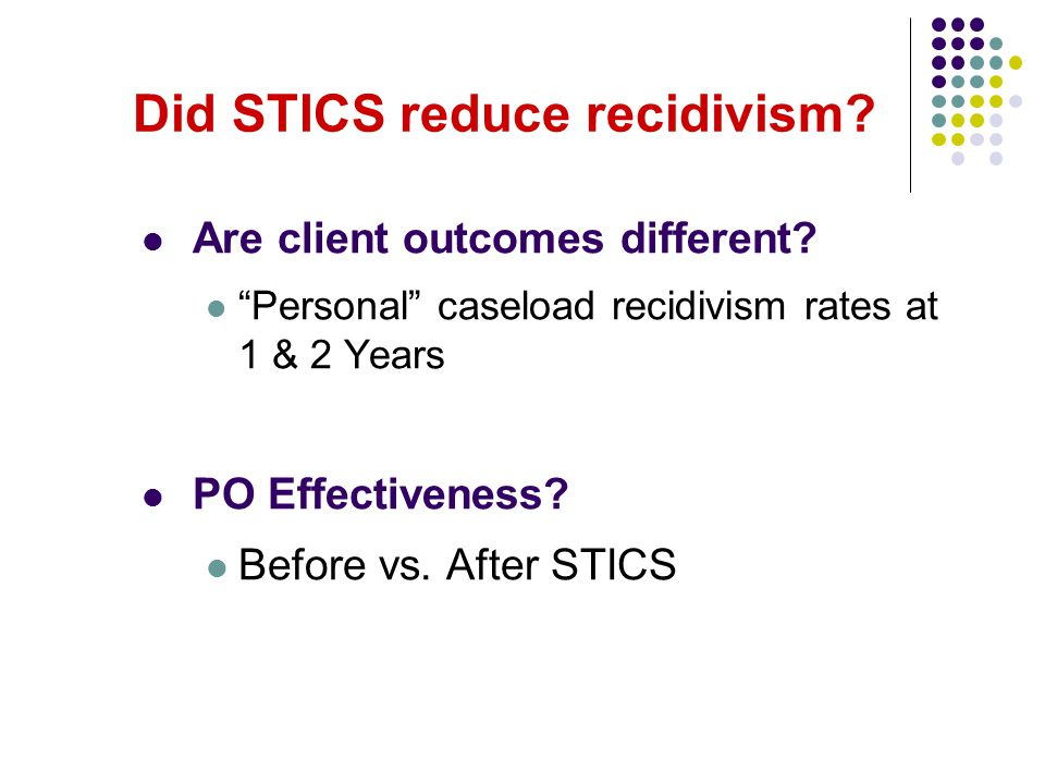 "Did STICS reduce recidivism? Are client outcomes different? ""Personal"" caseload recidivism rates at 1 & 2 Years PO Effectiveness? Before vs. After STI"