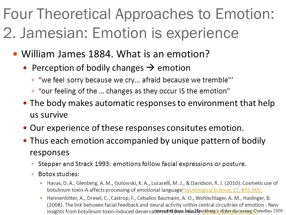 Four Theoretical Approaches to Emotion: 1.