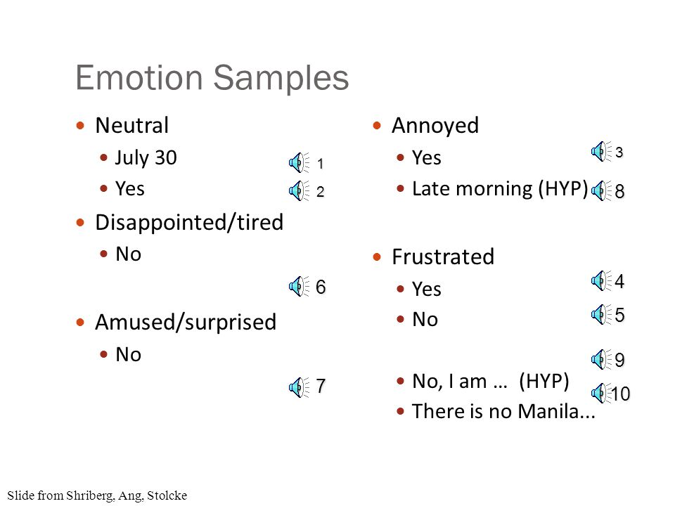 Data Labeling Emotion: neutral, annoyed, frustrated, tired/disappointed, amused/surprised, no- speech/NA Speaking style: hyperarticulation, perceived pausing between words or syllables, raised voice Repeats and corrections: repeat/rephrase, repeat/rephrase with correction, correction only Miscellaneous useful events: self-talk, noise, non- native speaker, speaker switches, etc.