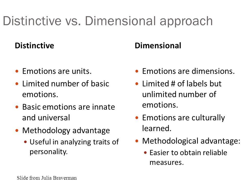 Distinctive vs.Dimensional approach Distinctive Emotions are units.