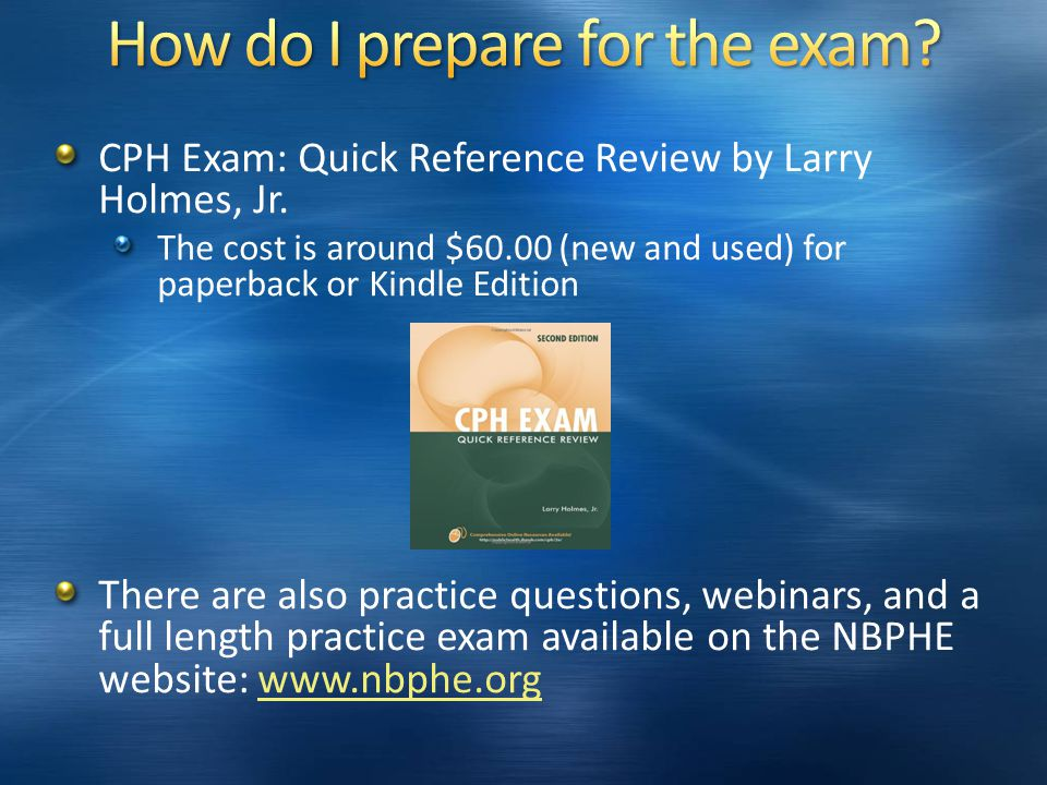 CPH Exam: Quick Reference Review by Larry Holmes, Jr.