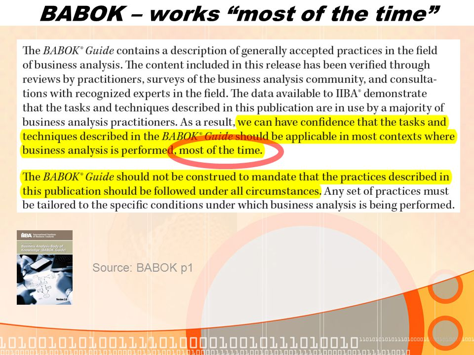 BABOK – works most of the time Source: BABOK p1