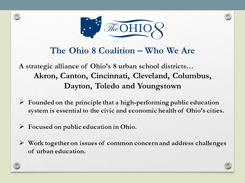 The Ohio 8 - College and University Summit Outcomes.