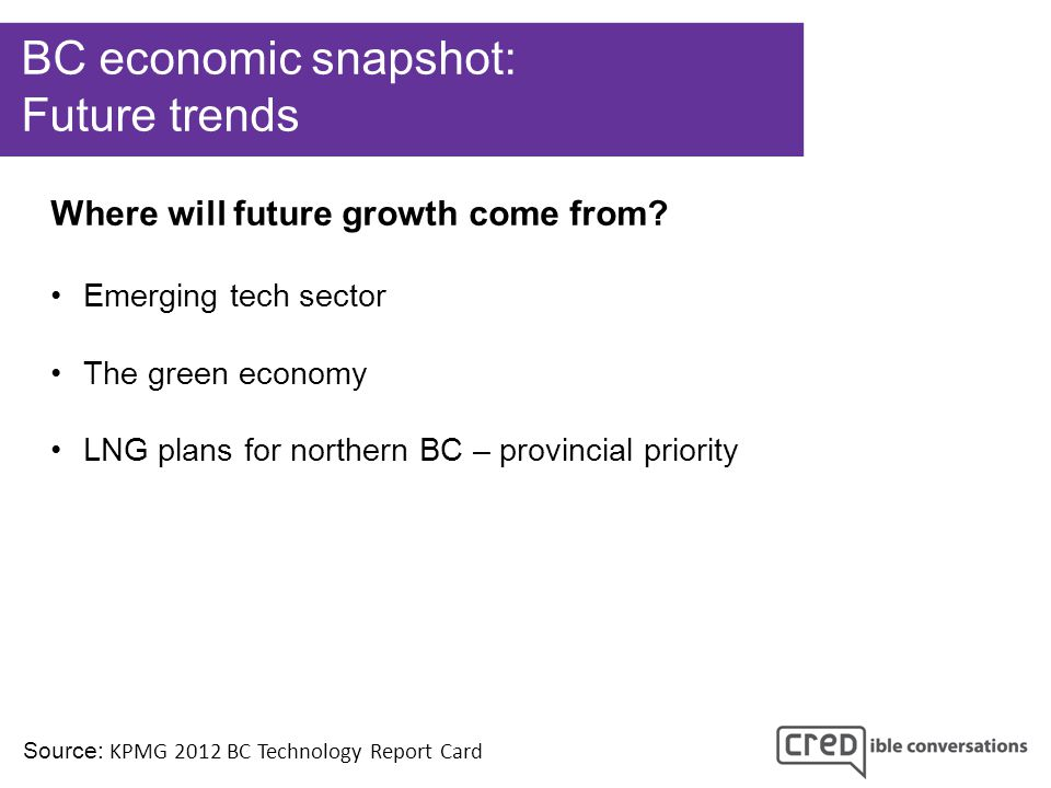 BC economic snapshot: Future trends Source: KPMG 2012 BC Technology Report Card Where will future growth come from.