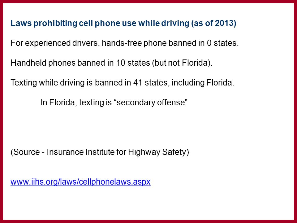 Laws prohibiting cell phone use while driving (as of 2013) For experienced drivers, hands-free phone banned in 0 states.