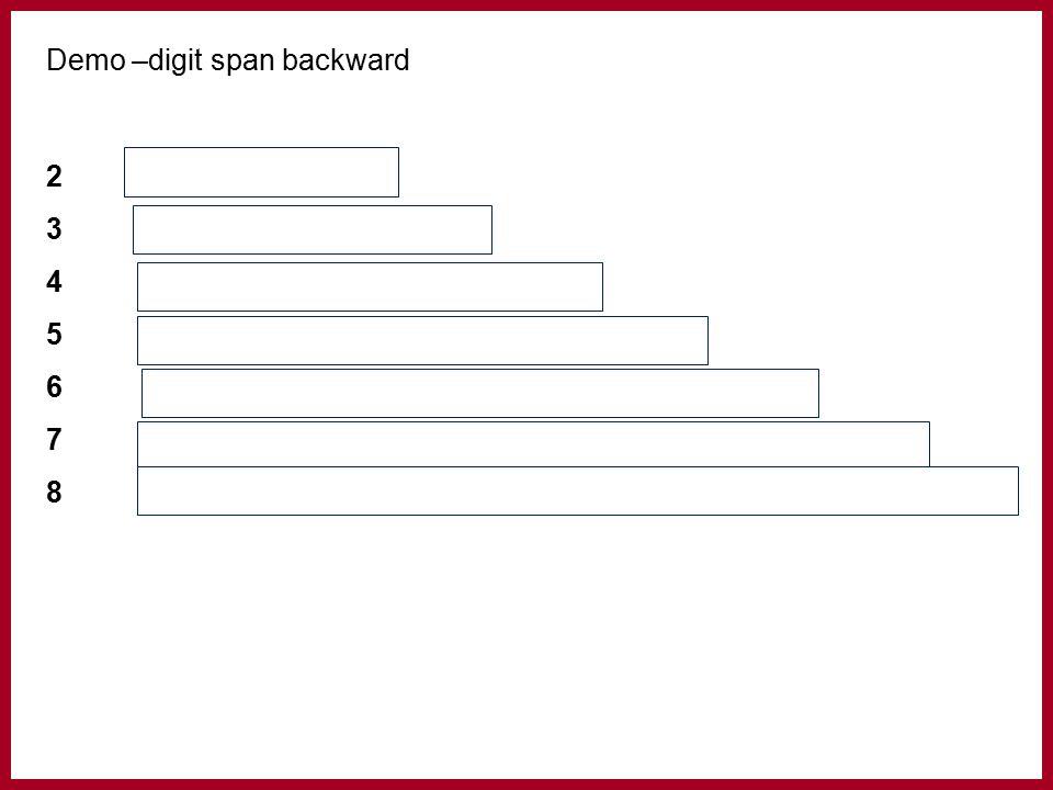 Demo –digit span backward 273 3694 4 3852 553981 6759834 79841368 851736792