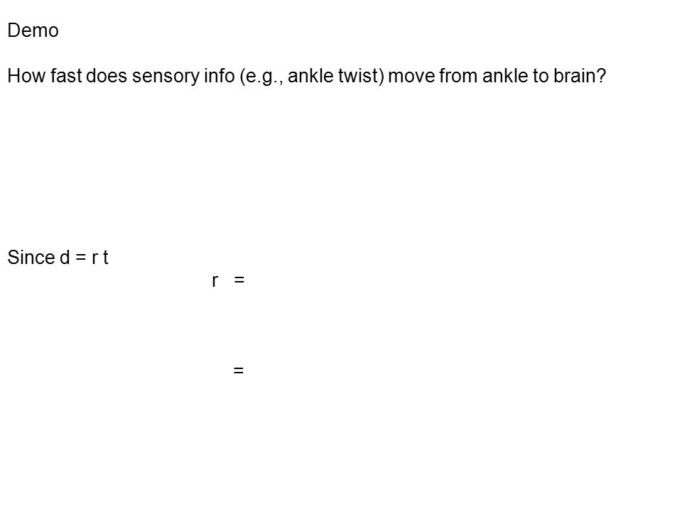Demo How fast does sensory info (e.g., ankle twist) move from ankle to brain.