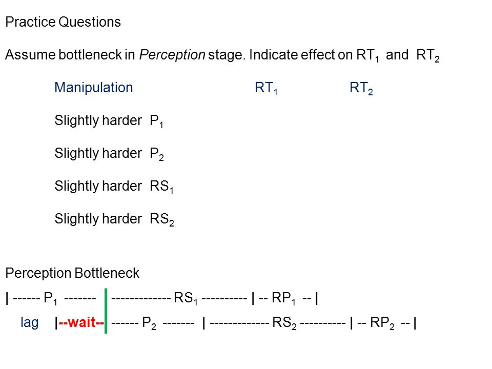 Practice Questions Assume bottleneck in Perception stage.