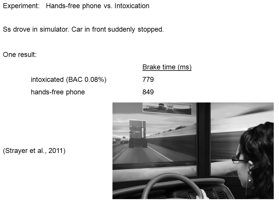 Experiment: Hands-free phone vs. Intoxication Ss drove in simulator.
