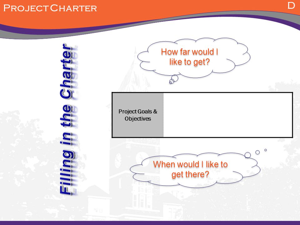 How far would I like to get? D Project Charter When would I like to get there? Project Goals & Objectives