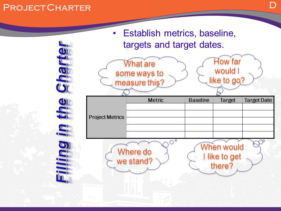 Establish metrics, baseline, targets and target dates. Where do we stand? What are some ways to measure this? D Project Charter How far would I like t
