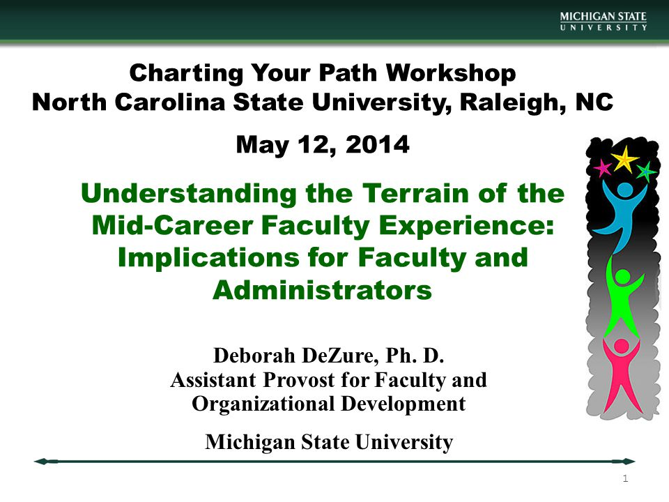 Charting Your Path Workshop North Carolina State University, Raleigh, NC May 12, 2014 Understanding the Terrain of the Mid-Career Faculty Experience: Implications for Faculty and Administrators Deborah DeZure, Ph.