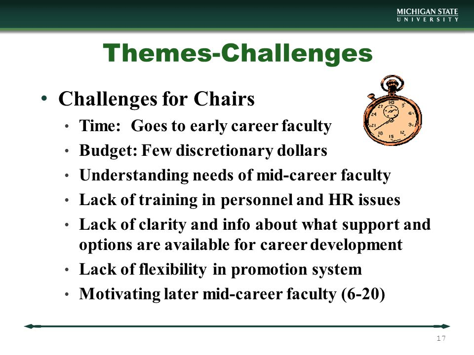 Themes-Challenges Challenges for Chairs Time: Goes to early career faculty Budget: Few discretionary dollars Understanding needs of mid-career faculty Lack of training in personnel and HR issues Lack of clarity and info about what support and options are available for career development Lack of flexibility in promotion system Motivating later mid-career faculty (6-20) 17