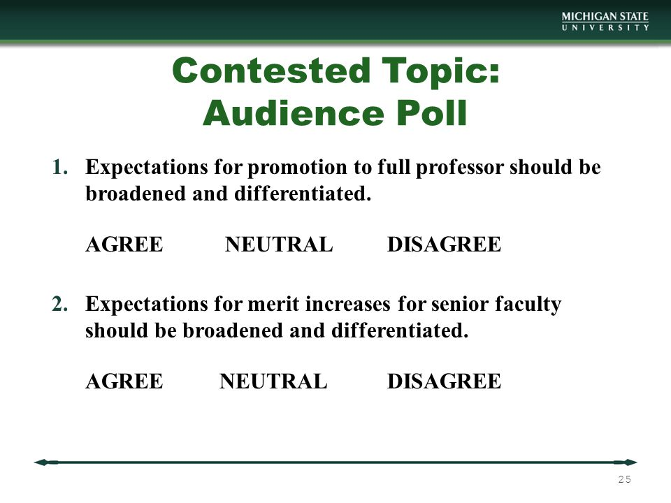 Contested Topic: Audience Poll 1.Expectations for promotion to full professor should be broadened and differentiated.