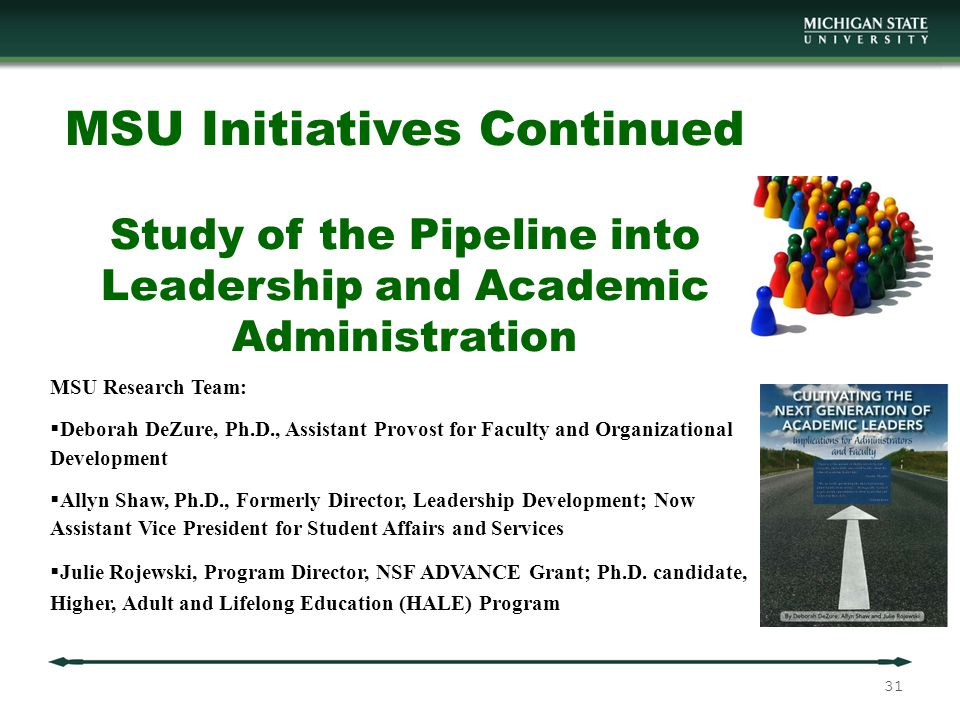 MSU Initiatives Continued Study of the Pipeline into Leadership and Academic Administration MSU Research Team:  Deborah DeZure, Ph.D., Assistant Provost for Faculty and Organizational Development  Allyn Shaw, Ph.D., Formerly Director, Leadership Development; Now Assistant Vice President for Student Affairs and Services  Julie Rojewski, Program Director, NSF ADVANCE Grant; Ph.D.