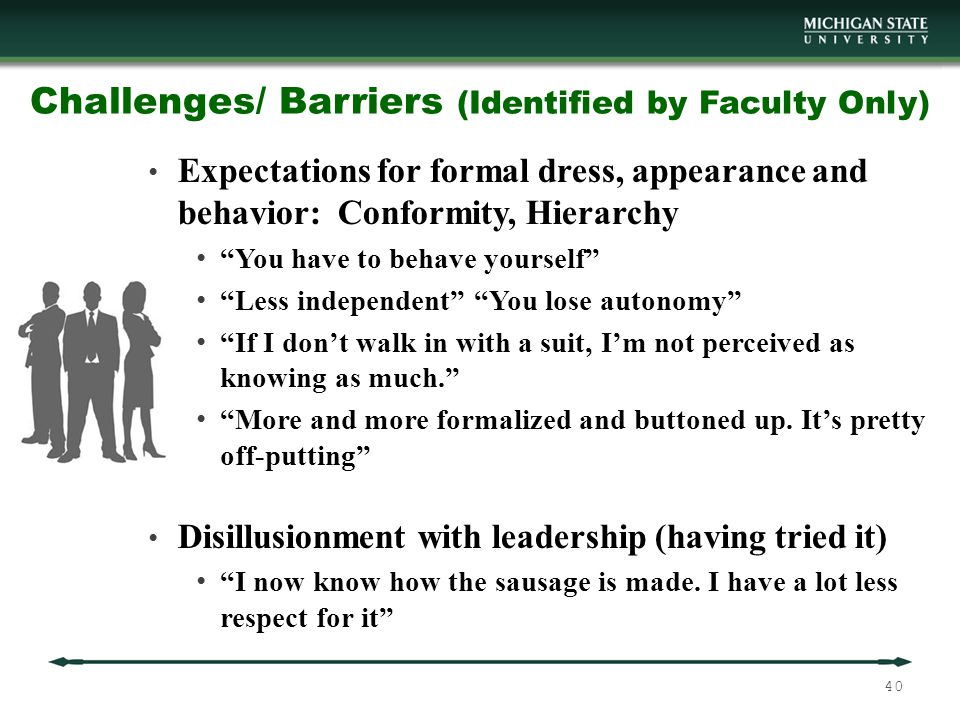 Challenges/ Barriers (Identified by Faculty Only) Expectations for formal dress, appearance and behavior: Conformity, Hierarchy You have to behave yourself Less independent You lose autonomy If I don't walk in with a suit, I'm not perceived as knowing as much. More and more formalized and buttoned up.