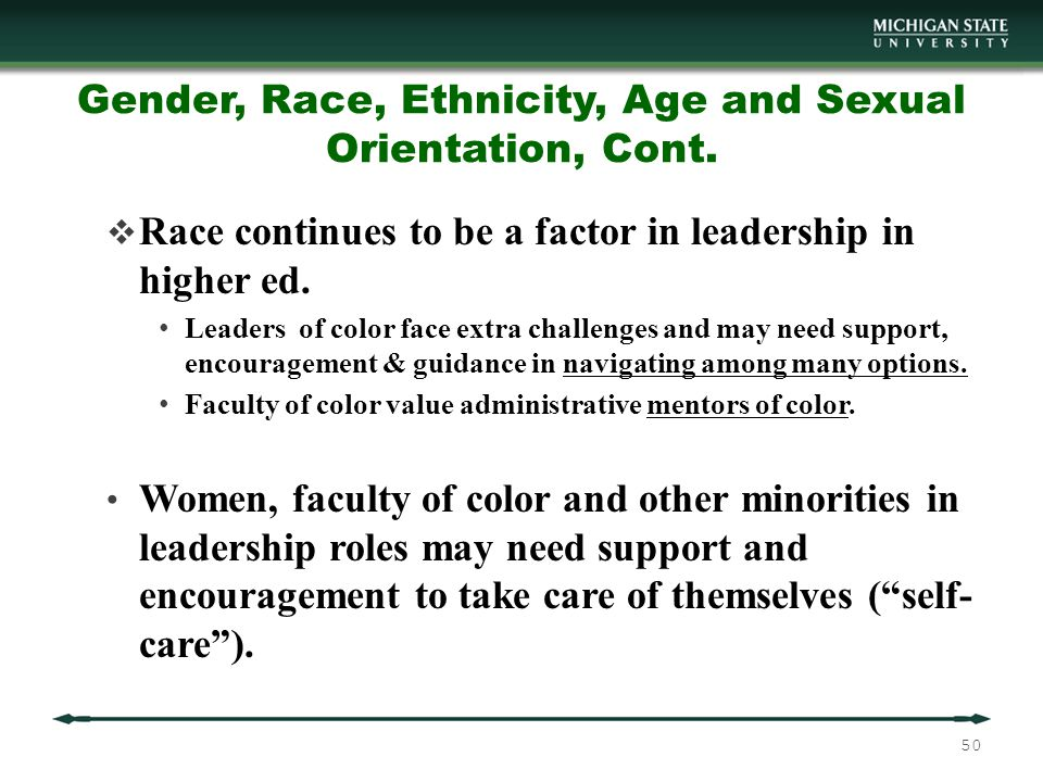 Gender, Race, Ethnicity, Age and Sexual Orientation, Cont.