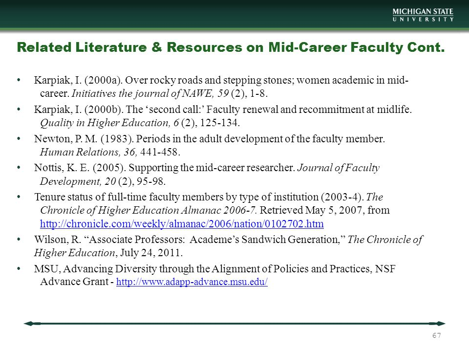 Related Literature & Resources on Mid-Career Faculty Cont.