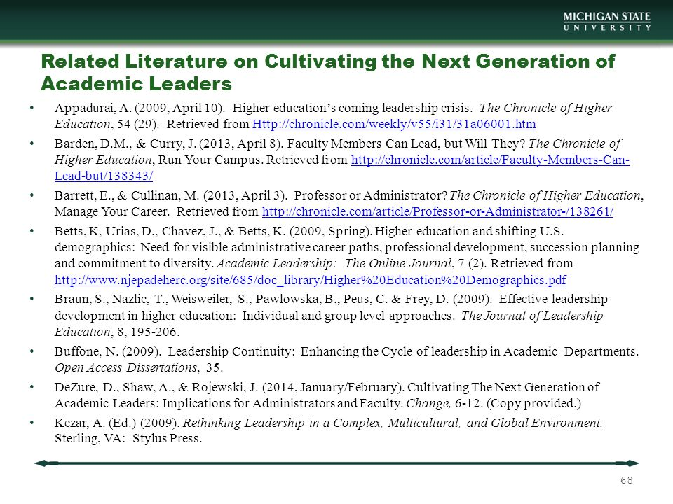 Related Literature on Cultivating the Next Generation of Academic Leaders Appadurai, A.