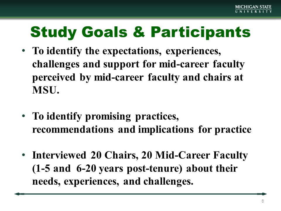 Findings: Themes Expectations of mid-career faculty High or enhanced performance (especially in research and grants) New roles, new duties (especially service; also leadership, administration) Newly tenured faculty surprised by the increase in work High Performers Network, collaborate, build teams Exhibit adaptability, flexibility Obtain external grants 9
