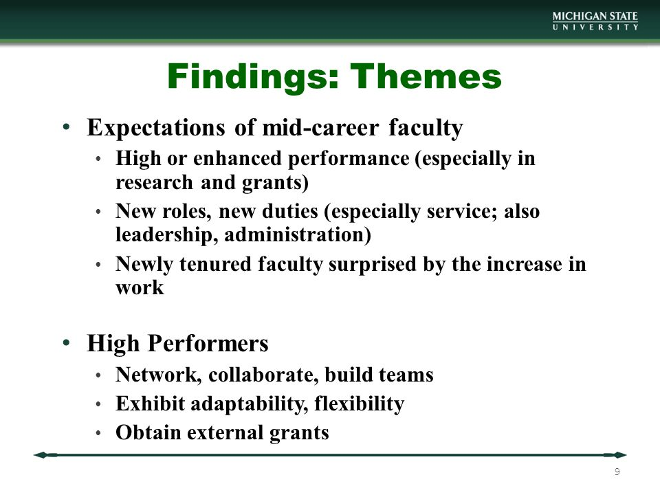 Findings: Themes (cont.) Experiences Post Tenure Tenure was liberating (1-5 years post tenure) Energy level varied post tenure Chairs tolerated up to two years disengagement (1-5) Confusion/Now what do I do.