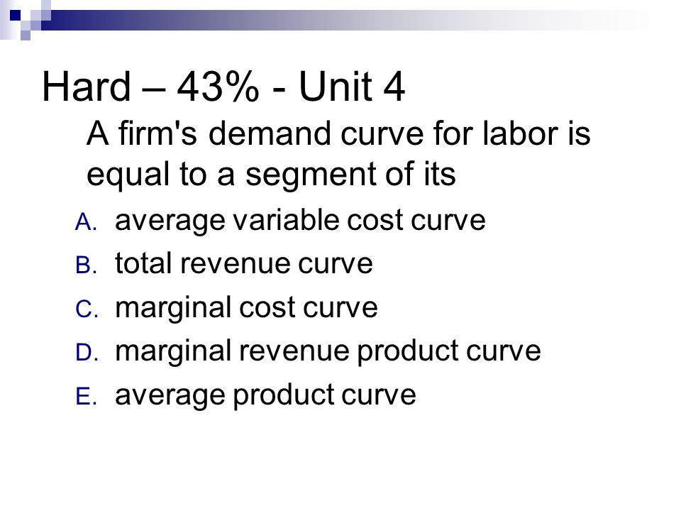 Hard – 43% - Unit 4 A firm's demand curve for labor is equal to a segment of its A. average variable cost curve B. total revenue curve C. marginal cos